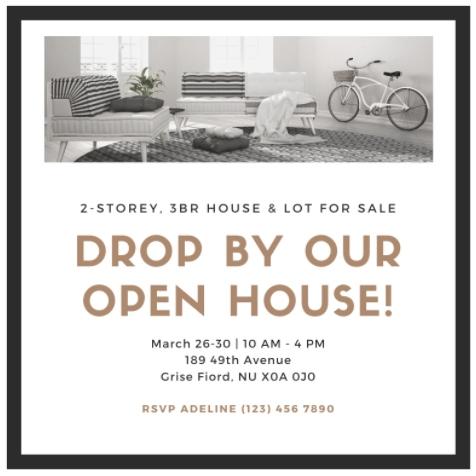 Canva Minimalist Icon Open house Invitation