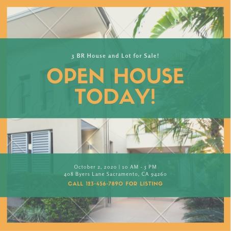 Canva Orange and Green Image Open House Invitation