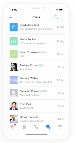 Chime Team Chat on Mobile App interface