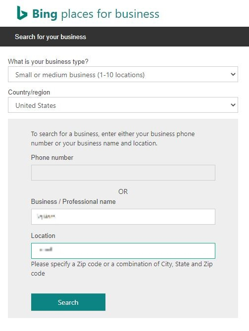 Claim Add Your Bing Places form