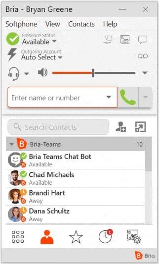 Screenshot of CounterPath Bria sample softphone