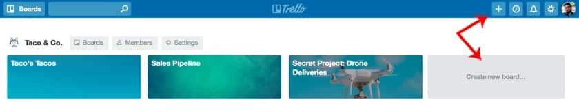 Create a new board in Trello