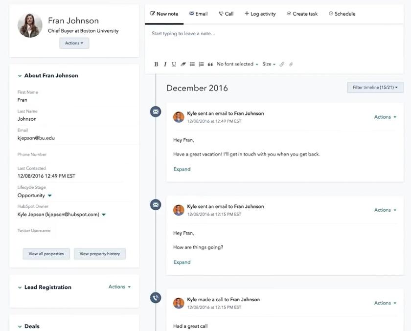 Customer profile in HubSpot