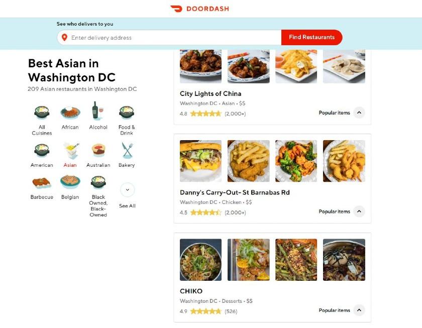 DoorDash Restaurants directory