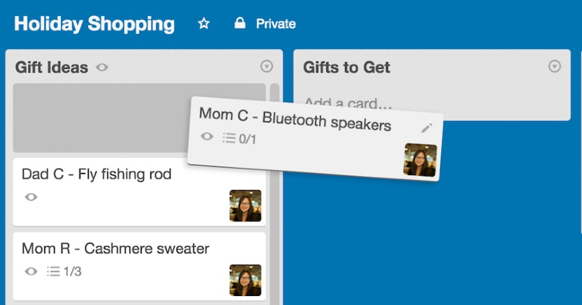 Drag-and-drop card from one board to another on Trello
