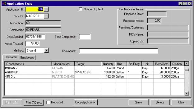 Screenshot of EasyFarm Application Entry Form