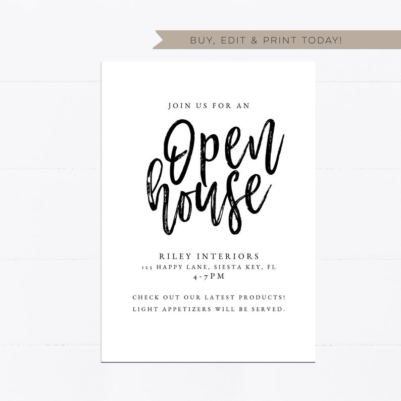Etsy Personal Modern Vintage Open House Invitation