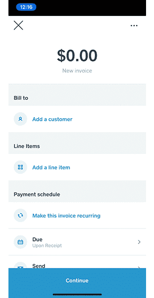 Screenshot of Filling Out Invoice Information