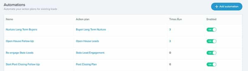Screenshot of Follow Up Boss Automations List Page