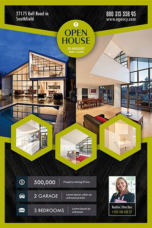 Free PSD Flyer Open House Real Estate Flyer Template