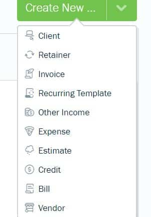 Screenshot of FreshBooks Create New Transaction