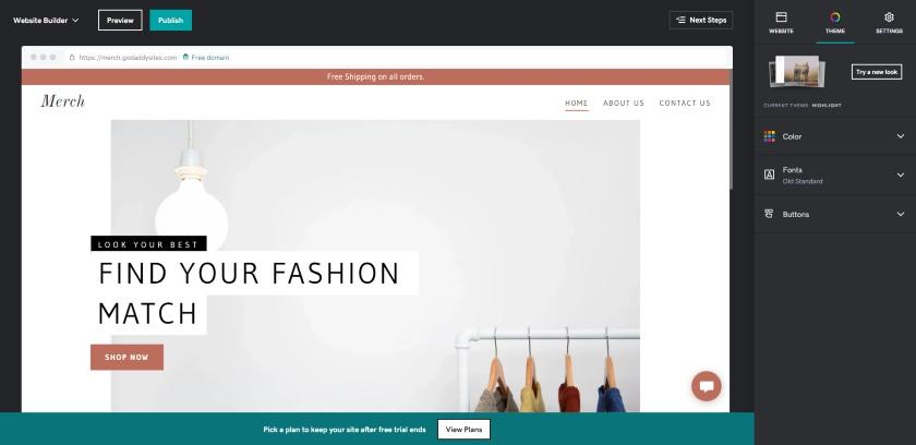 GoDaddy website builder interface