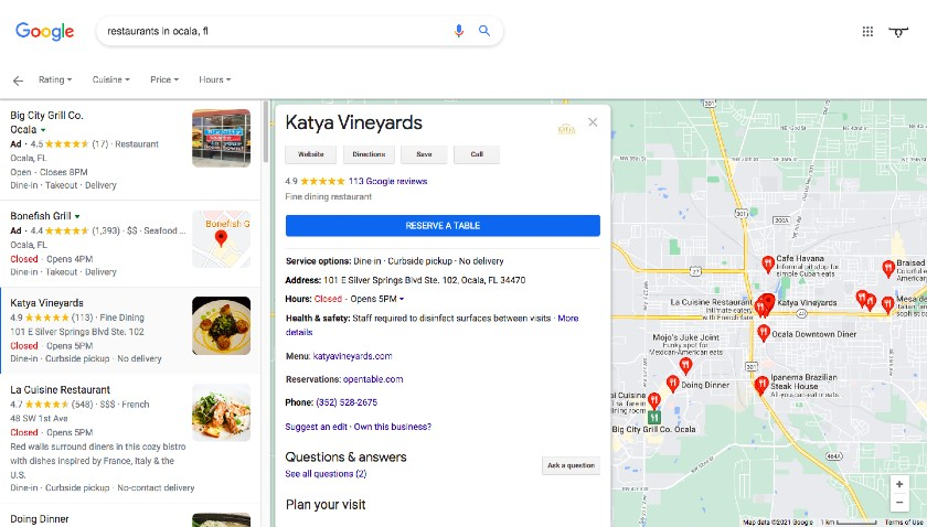 Restaurant search results in Google