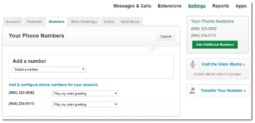 Grasshopper Add new phone number settings