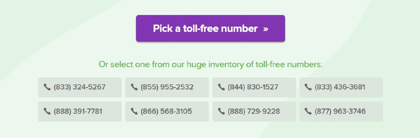 Grasshopper selection of Toll-free number