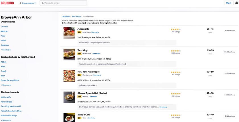 GrubHub Restaurants directory