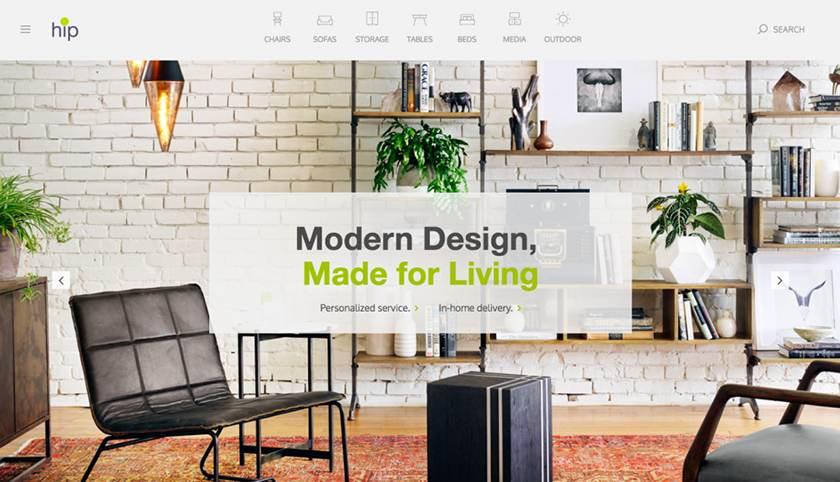 Screenshot of Hip Furniture website