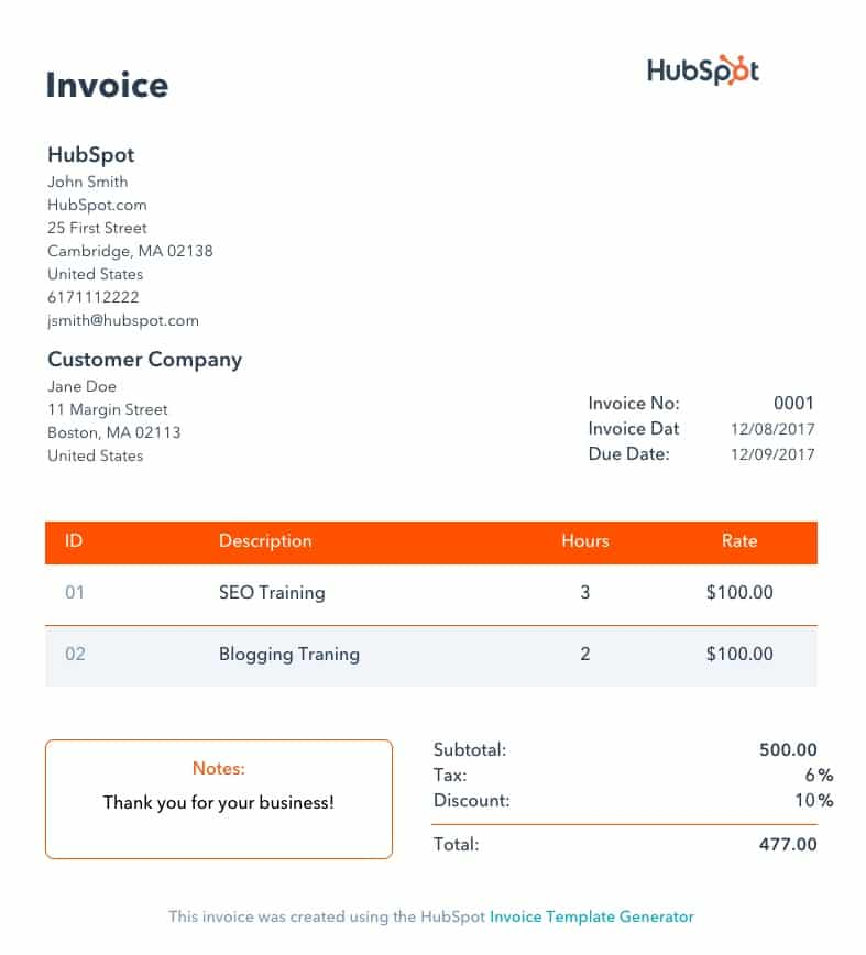 HubSpot Invoice template Generator