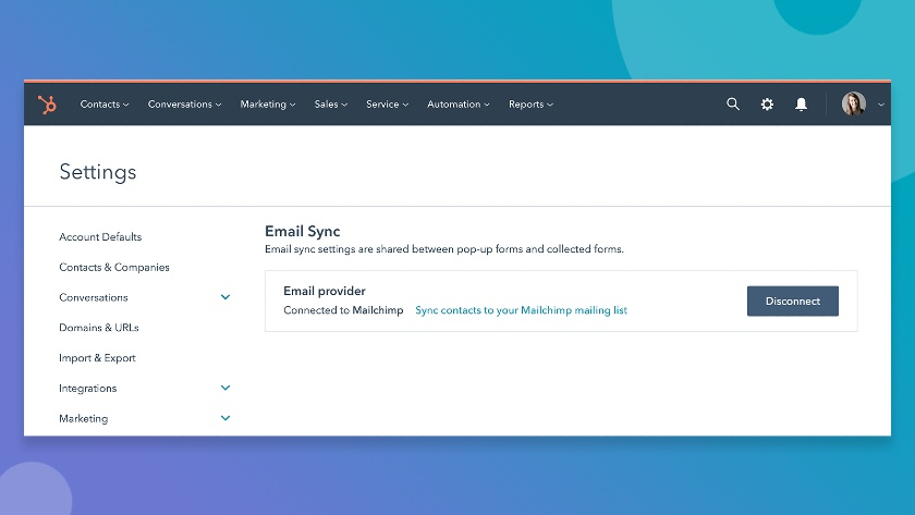 Hubspot Settings Email Sync to your Mailchimp