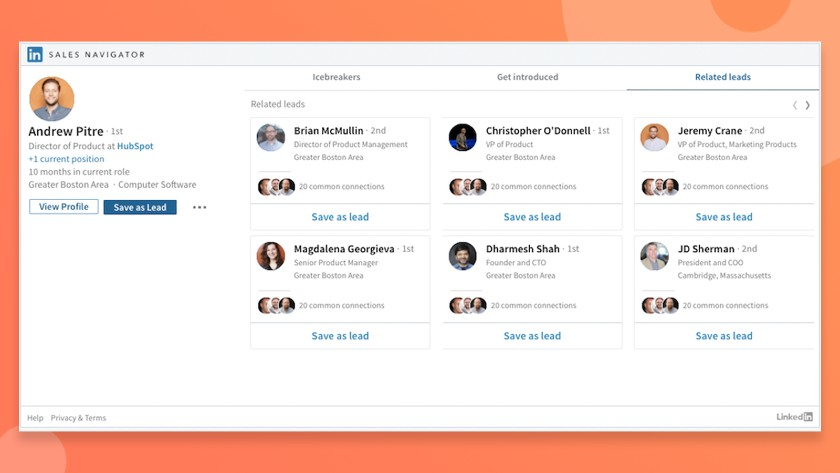 Hubspot and LinkedIn Sales Navigator Integration related leads tab