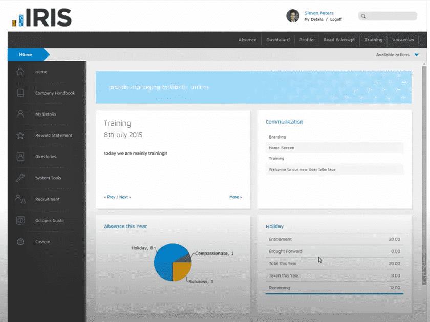 Screenshot of IRIS FMP employee portal
