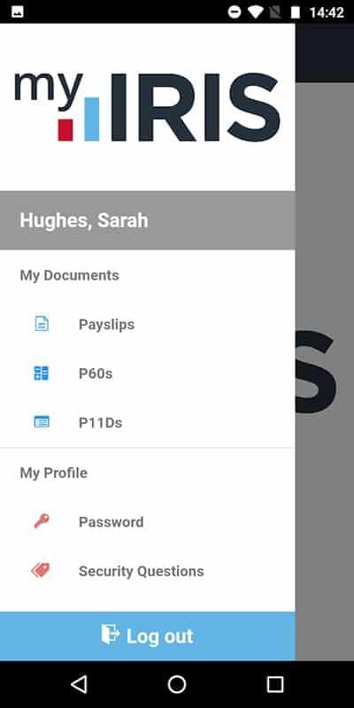 Screenshot of IRIS FMP mobile app