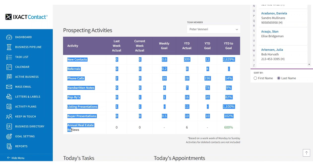 IXACT Contact Prospecting Objectives Screen for RoadMap