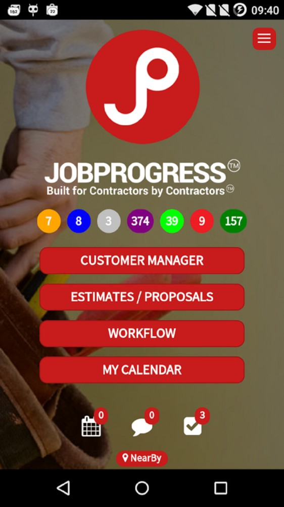 JobProgress dashboard mobile interface
