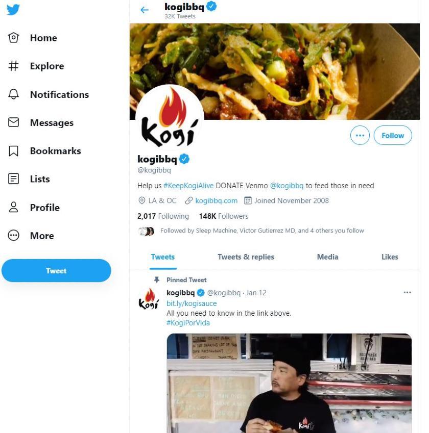 Kogi BBQ local business Twitter Account