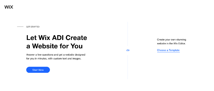Let Wix ADI create a website for you
