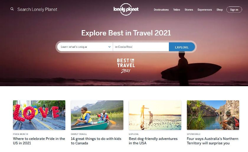 Lonely Planet homepage with Explore form