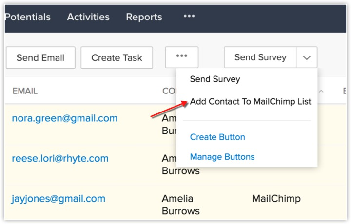 Mailchimp extension for Zoho CRM