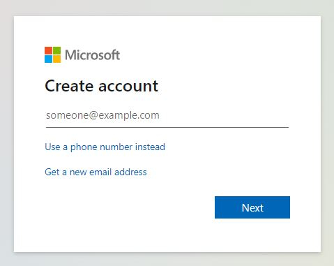 Microsoft Signup form
