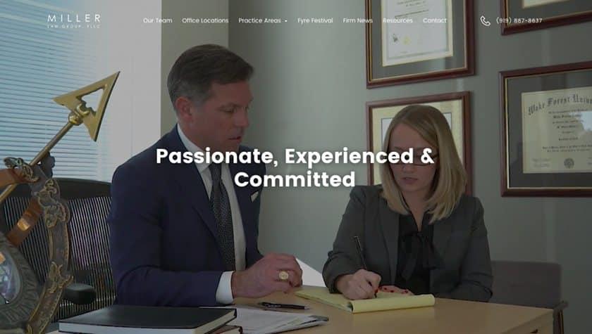 Screenshot of Miller Law Group website
