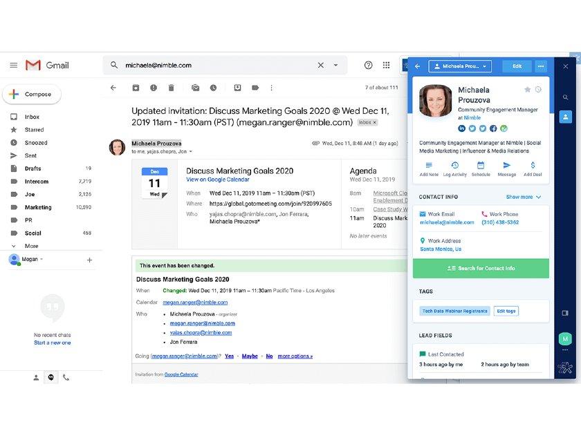 Nimble Gmail and Google Calendar integrations