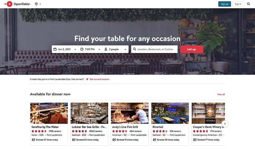 OpenTable Find Your Table form