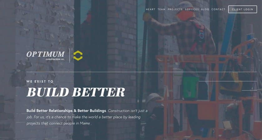 Screenshot of Optimum Construction Co/ website
