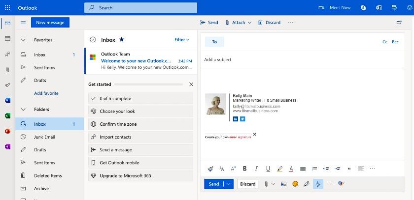 Outlook inbox interface