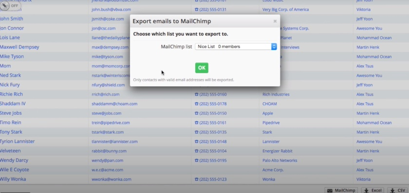 Pipedrive Export emails To MailChimp