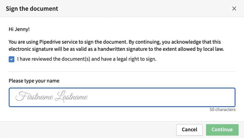 Screenshot of Pipedrive eSignature Document Signing Sample