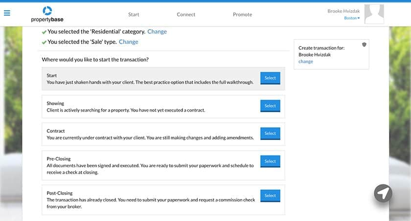 Screenshot of Propertybase Transaction Management Starting Page