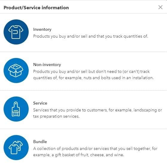 Screenshot of QuickBooks Online Adding a product