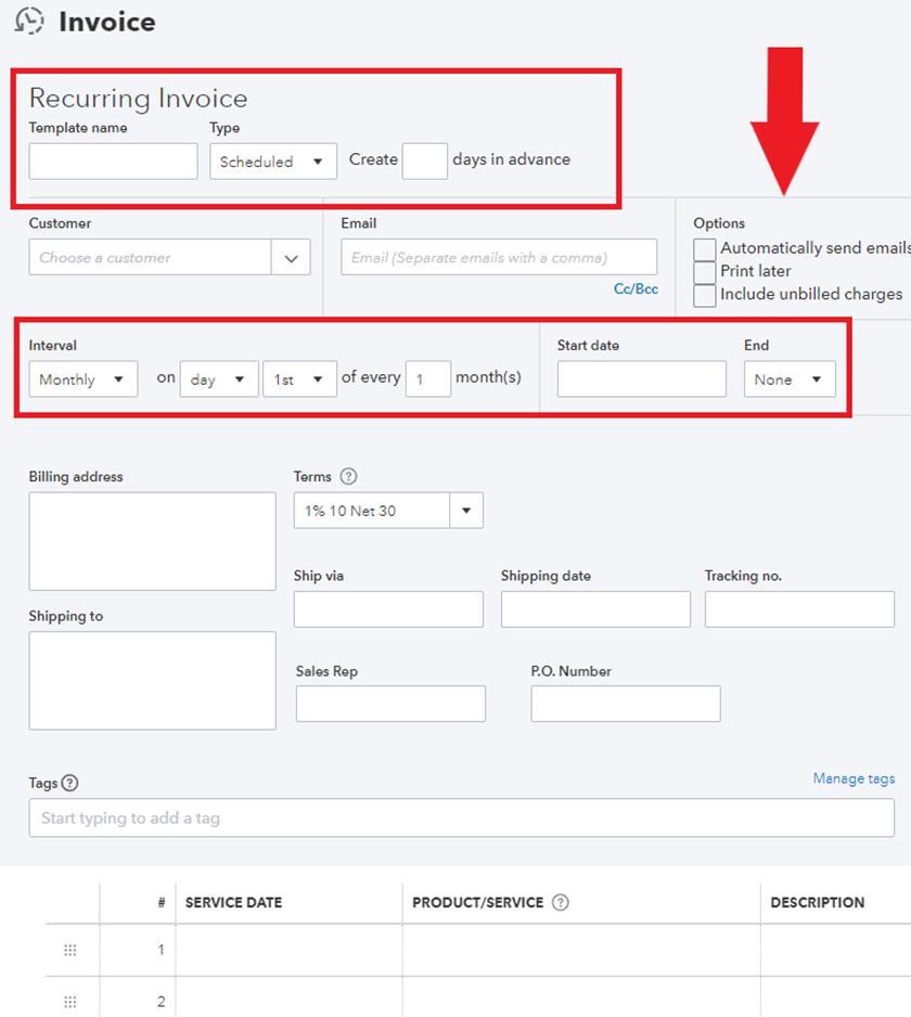 Screenshot of QuickBooks Online Adding recurring invoice