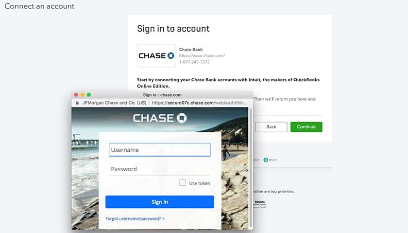 Screenshot of QuickBooks Online Connecting an Account