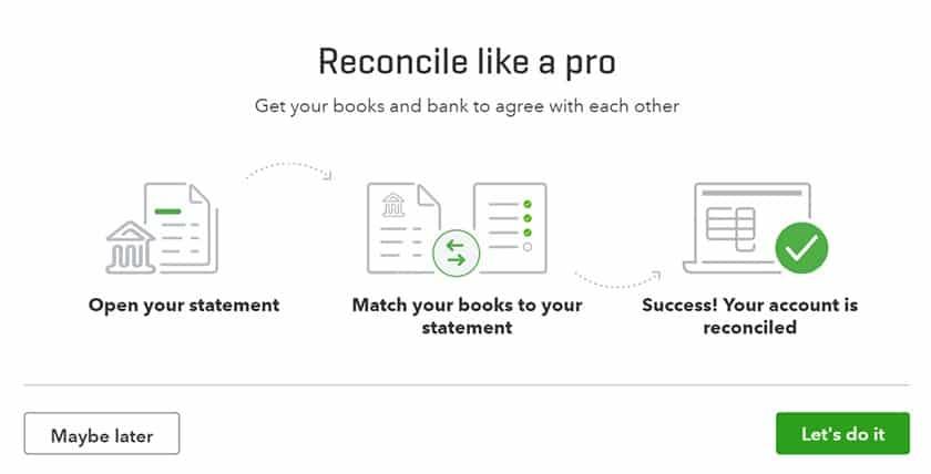 Screenshot of QuickBooks Online Reconciling statements