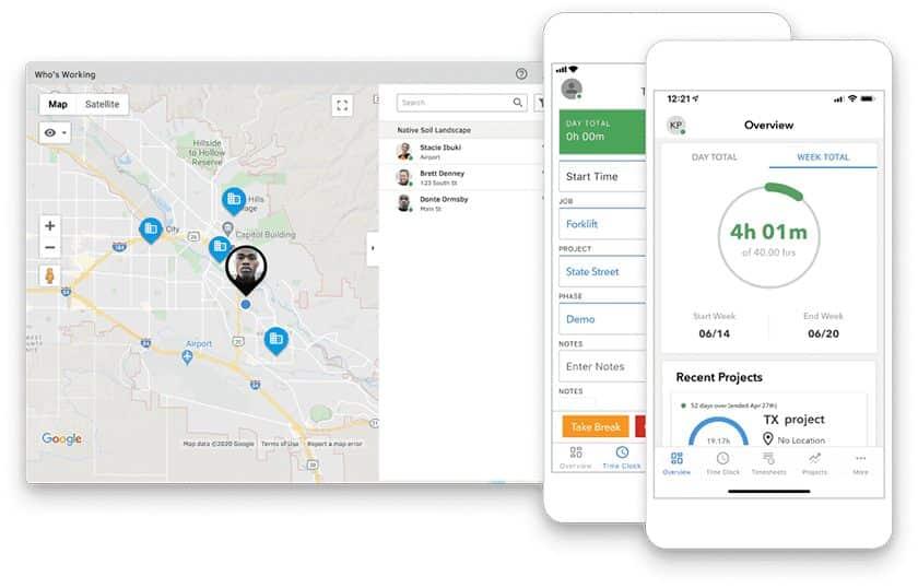 Screenshot of QuickBooks Time GPS employee tracker