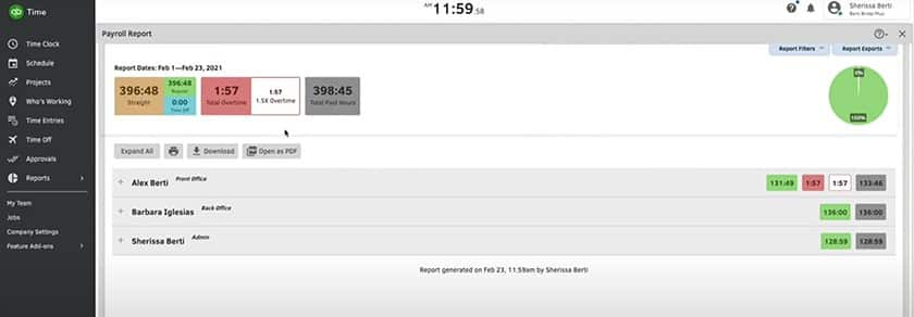 Screenshot of QuickBooks Time report dashboard