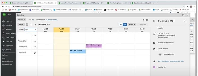 Screenshot of QuickBooks Time scheduling