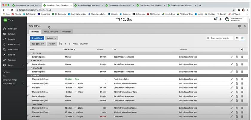 Screenshot of QuickBooks Time timesheets manager