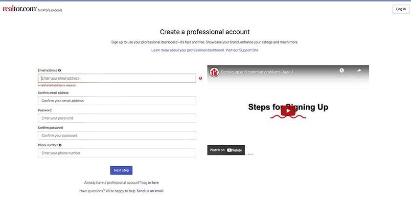 Realtor Create Professional Account form